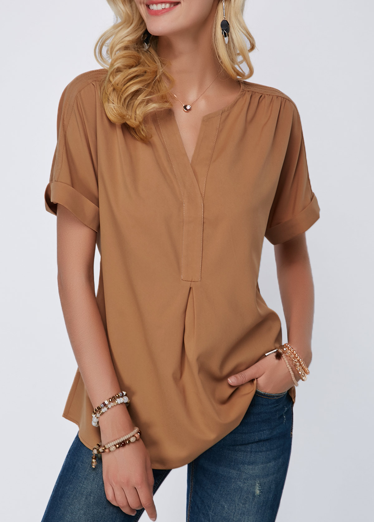 Short Sleeve Curved Hem Dark Khaki Blouse