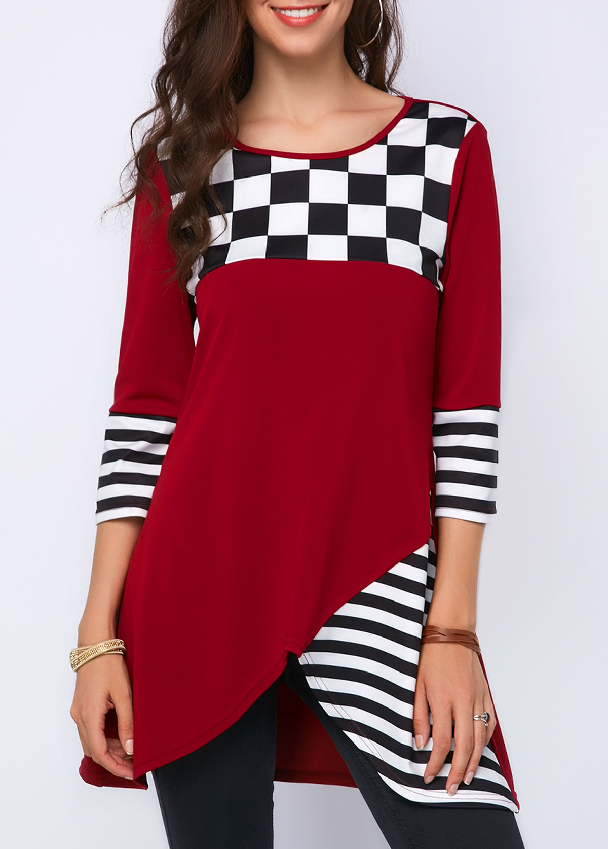 Round Neck Three Quater Sleeve Wine Red Blouse