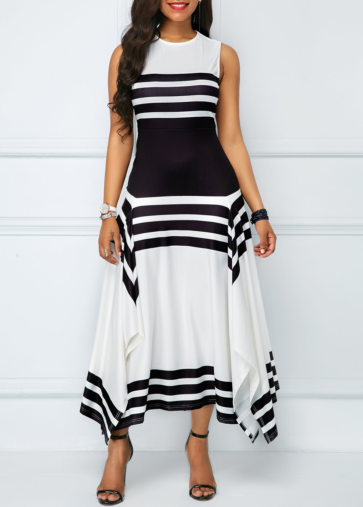 Fashion Dresses Style: Asymmetric Hem Stripe Print Sleeveless Midi Dress