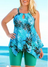 wholesale Plus Size Printed Tankini Top and Green Shorts