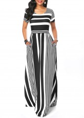 Short Sleeve Stripe Print Round Neck Maxi Dress