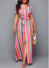 Belted Turndown Collar Button Up Maxi Dress