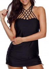 Caged Front Black Tankini Top and Pantskirt