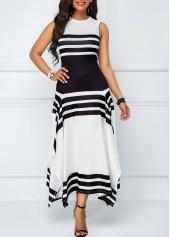 Asymmetric Hem Stripe Print Sleeveless Midi Dress