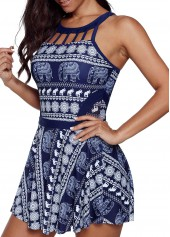 wholesale Cutout Neckline Printed Swimdress and Shorts
