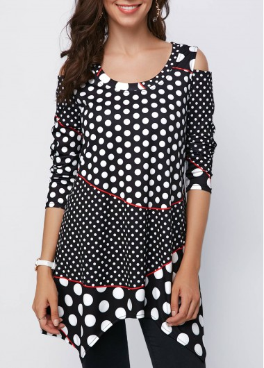 Black Cold Shoulder Polka Dot Asymmetric Hem Blouse - M