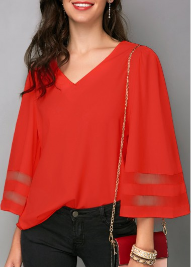 Rosewe Women Blouse Red Christmas V Neck Tunic - L