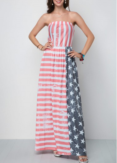 4Th Of July Women'S Multi Color American Flag Printed Strapless Tent Maxi Dress Patriotic Star And Stripe Printed Casual Dress By Rosewe - L