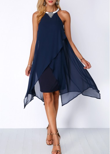 Asymmetric Hem Embellished Neck Navy Blue Chiffon Dress