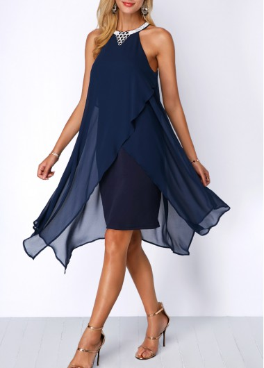 Women Flowy Chiffon Cocktail Party Dress Navy Blue Sleeveless Halter Neck Asymmetric Hem Embellished Neck Dress By Rosewe - L