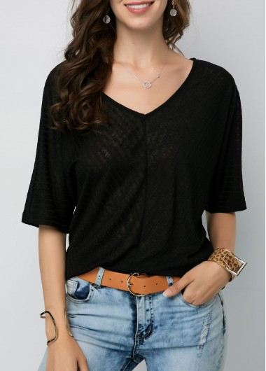 Black V Neck Half Sleeve Blouse - L