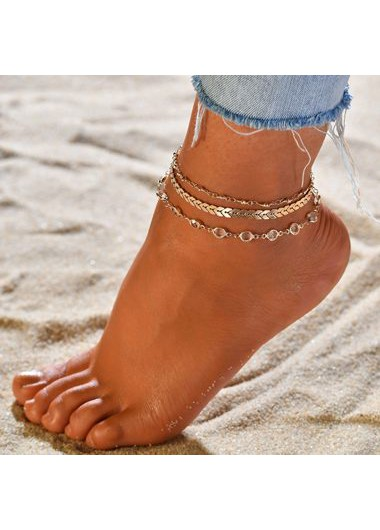 Mother's Day Gifts Gold Metal Chain Anklet Set for Lady - One Size