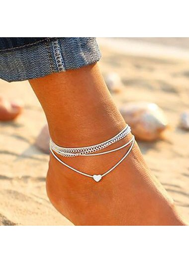 Silver Metal Heart Shape Anklets for Lady