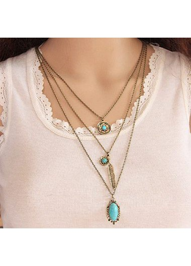Layered Gold Metal Turquoise Embellished Necklace
