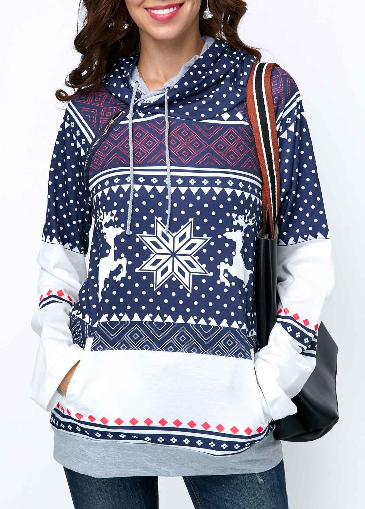 Christmas Print Long Sleeve Pullover Hoodie