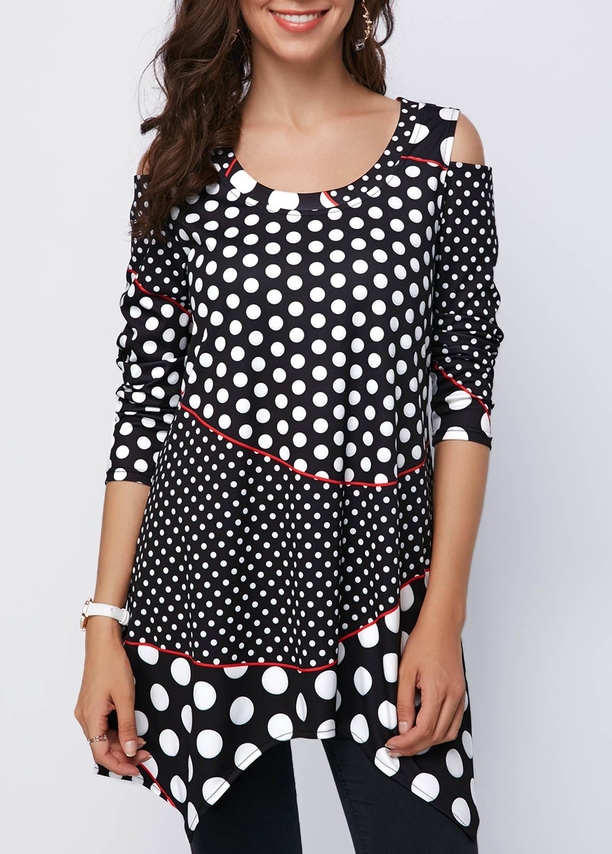 Black Cold Shoulder Polka Dot Asymmetric Hem Blouse