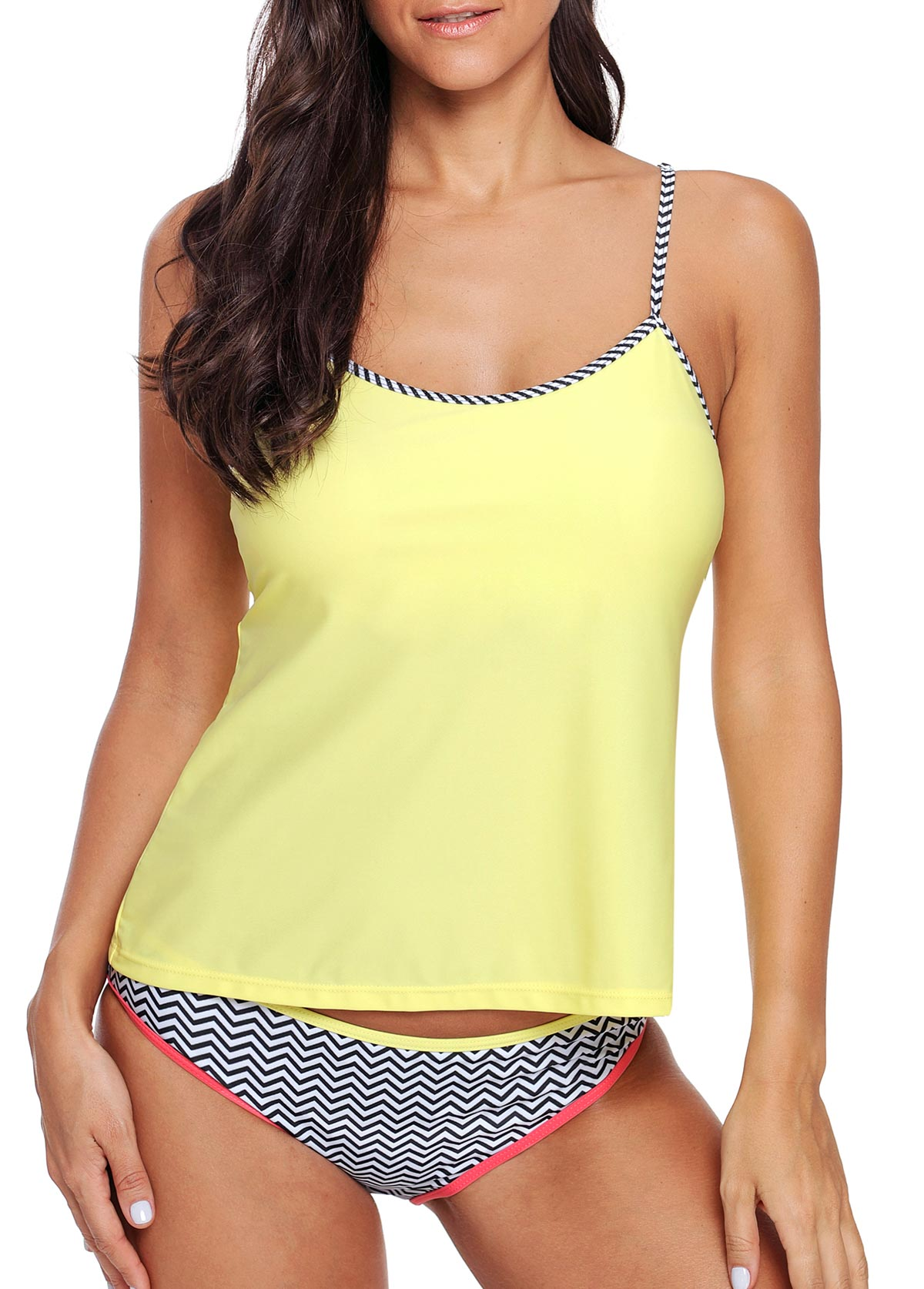 Light Yellow Spaghetti Strap Tankini Set