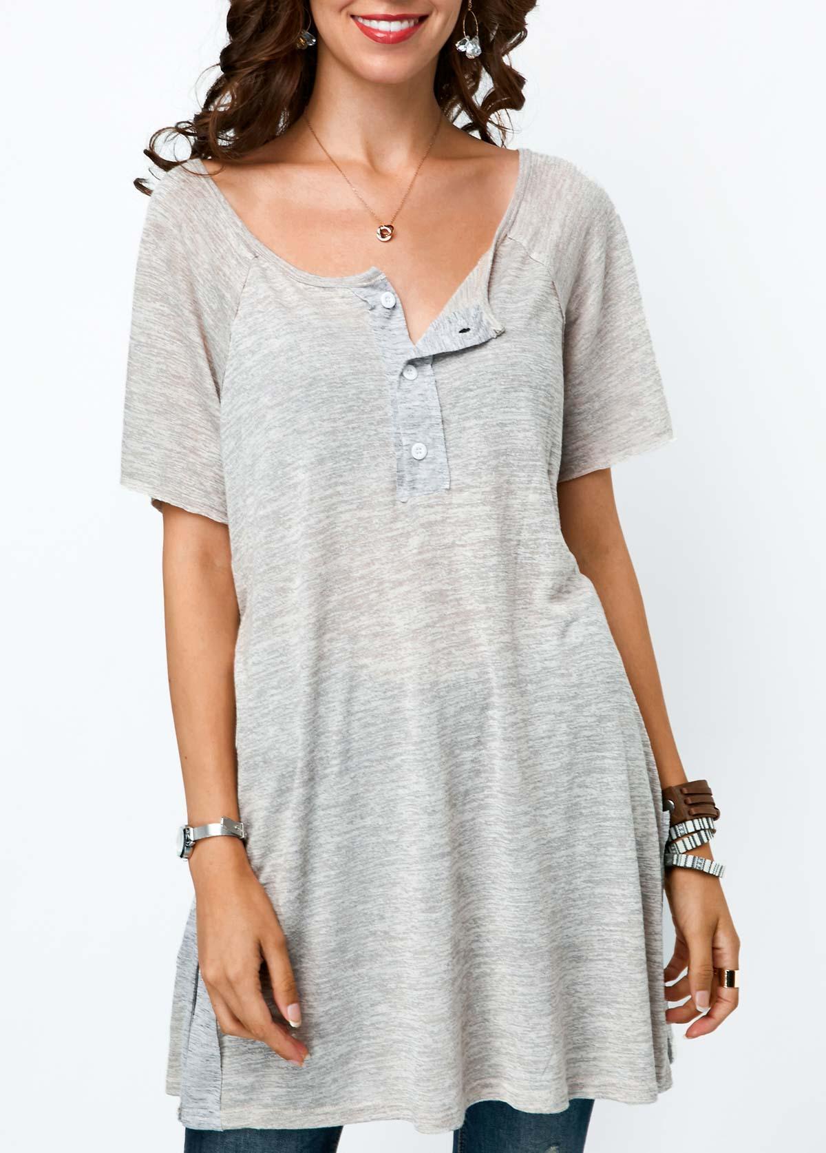 Grey Button Detail Short Sleeve Tunic T Shirt