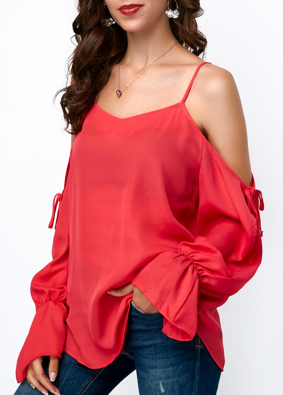 Long Sleeve Strappy Cold Shoulder Chiffon Blouse