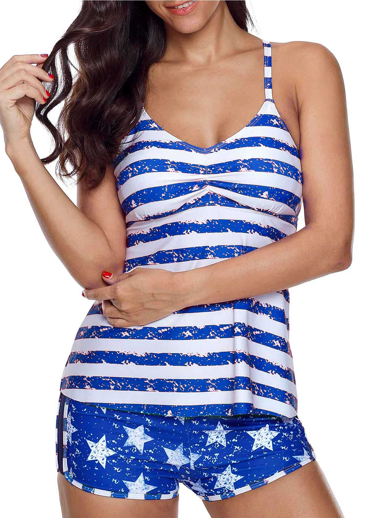 Star and Stripe Print Cutout Tankini Set