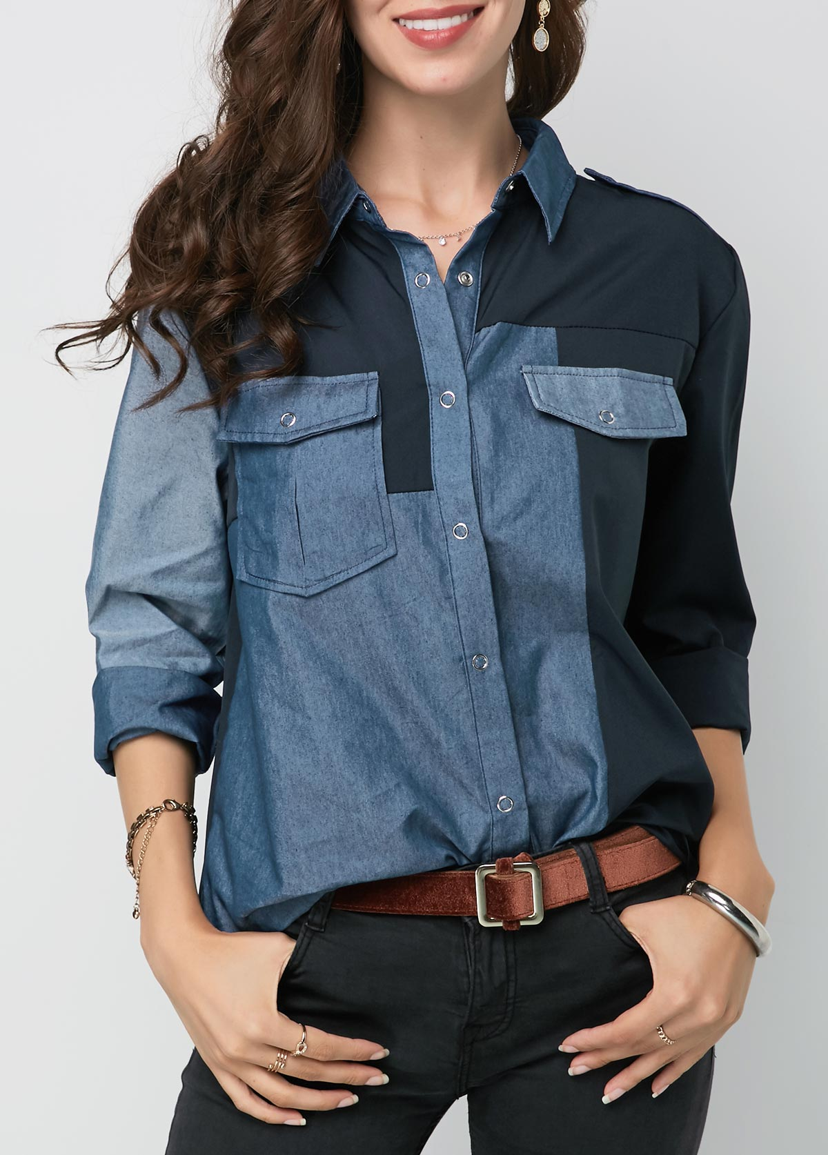 Button Up Turndown Collar Long Sleeve Shirt