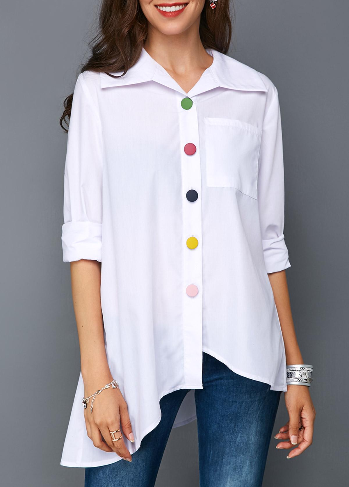 Asymmetric Hem Button Front Pocket White Blouse
