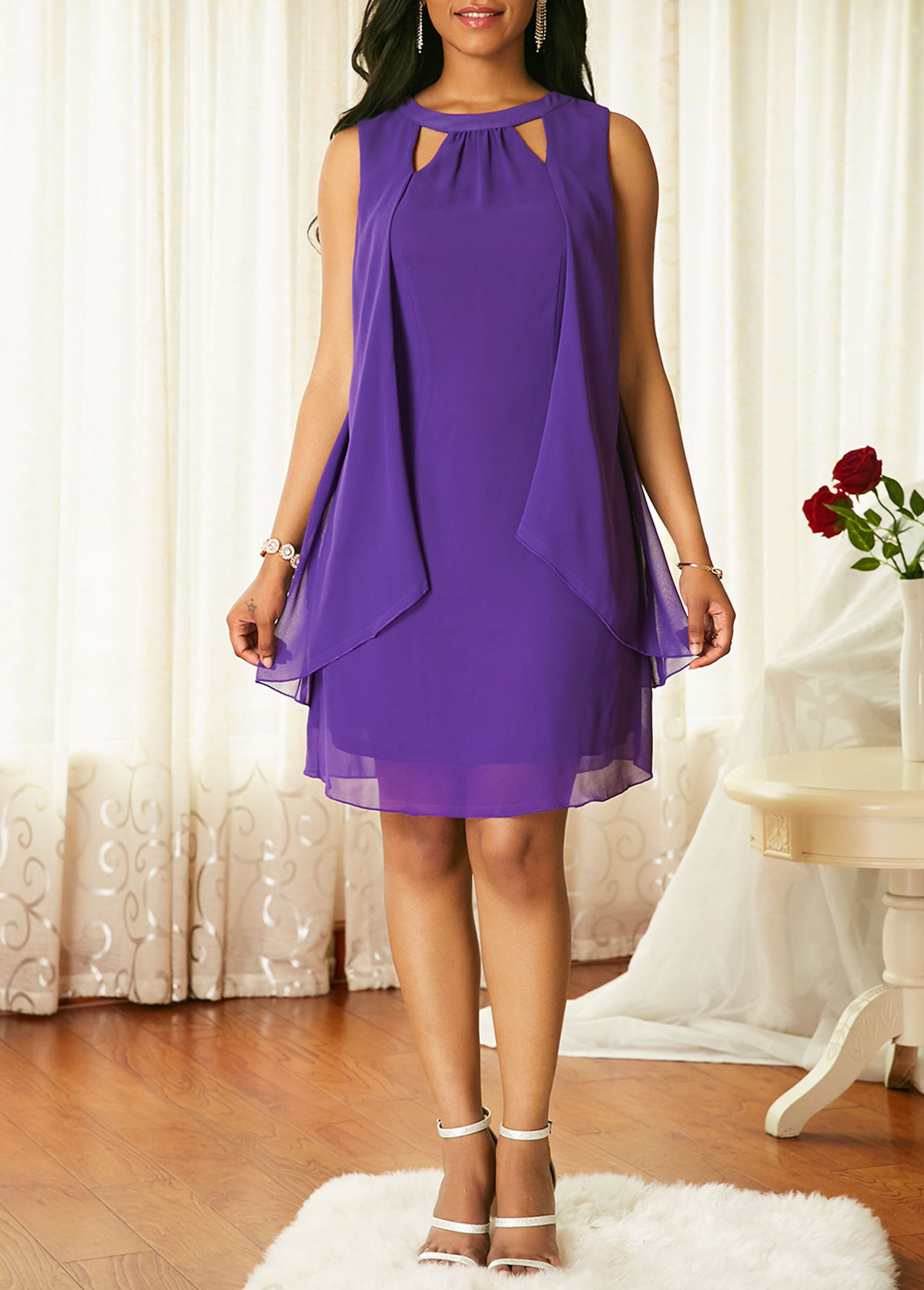 Purple Cutout Neck Overlay Chiffon Dress