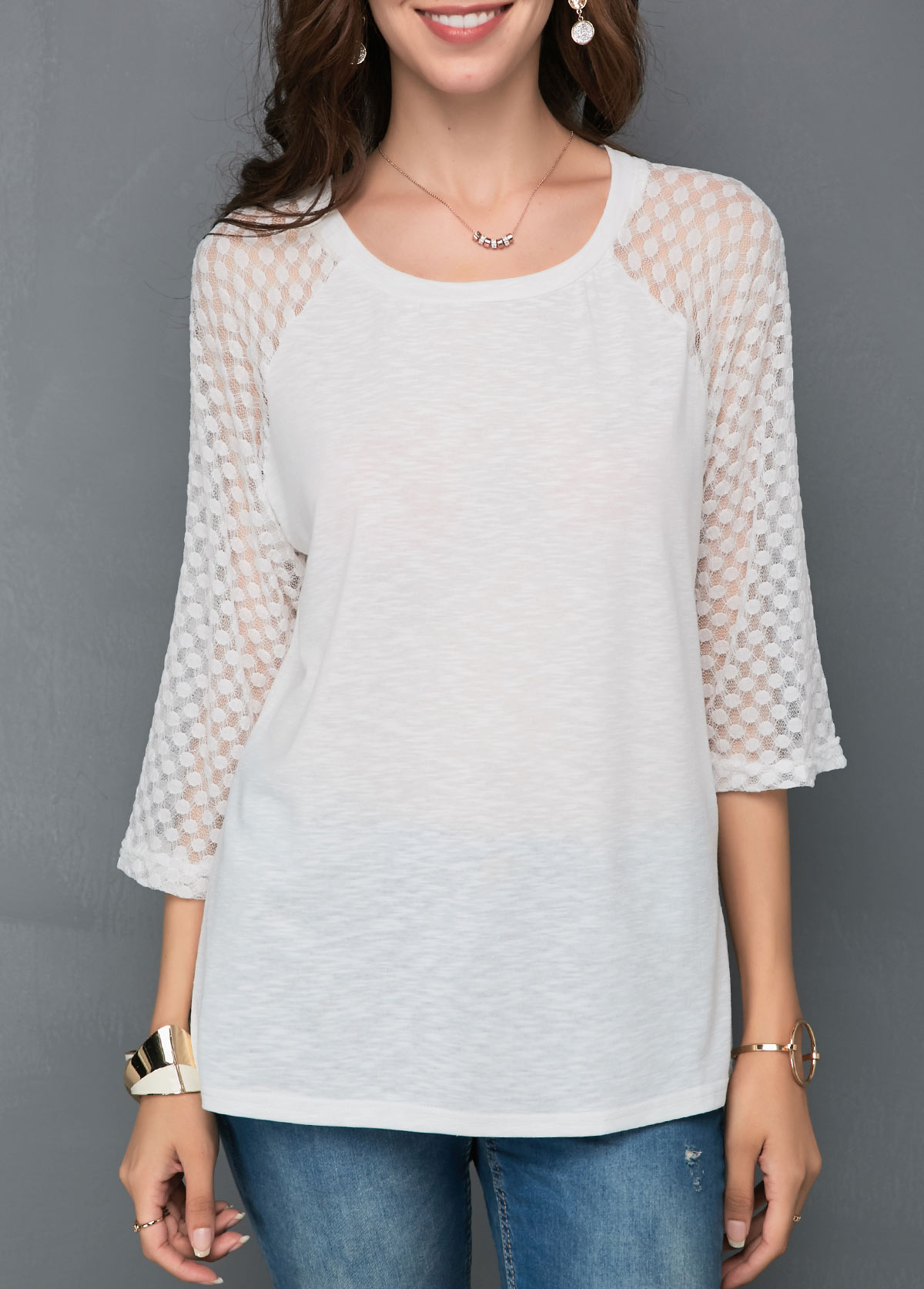 Mesh Dot Panel White T Shirt