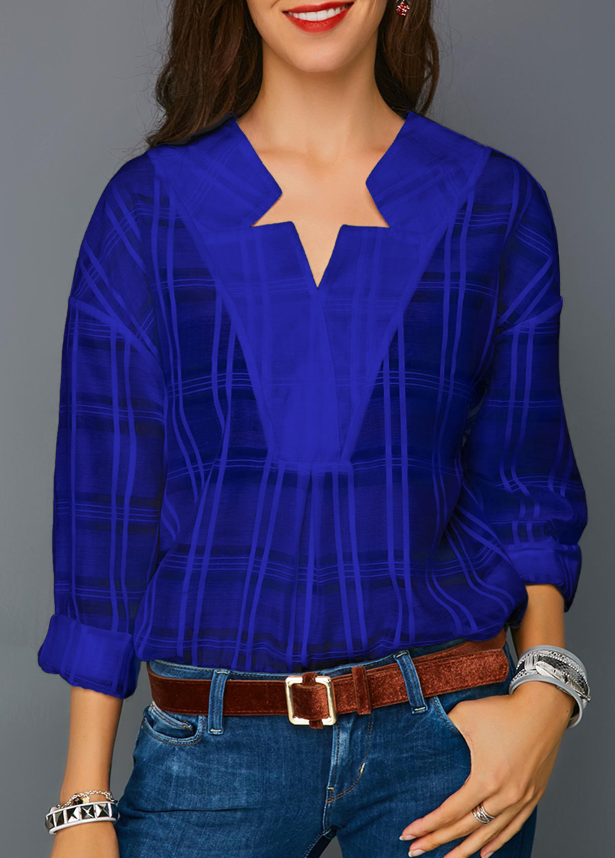 Royal Blue Long Sleeve Curved Hem Blouse