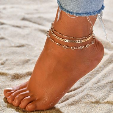 Gold Metal Chain Anklet Set for Lady