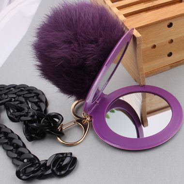 Mirror Pendant Purple Furry Ball Decorated Sweater Necklace