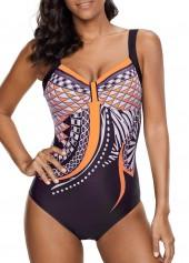 Scoop Back Printed Orange One Piece Swimwear