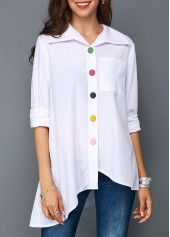 Asymmetric Hem Button Front Pocket White Blouse