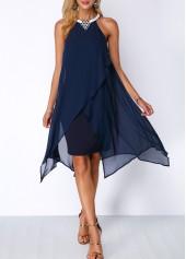 Asymmetric Hem Embellished Neck Navy Blue Chiffon Dress
