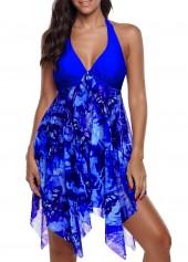 Asymmetric Hem Royal Blue Halter Swimdress and Panty
