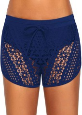 Navy Blue Drawstring Waist Lace Panel Swimwear Shorts