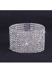 Silver Metal Rhinestone Decorated Wide Bracelet