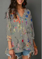 Three Quarter Sleeve Printed Split Neck Blouse