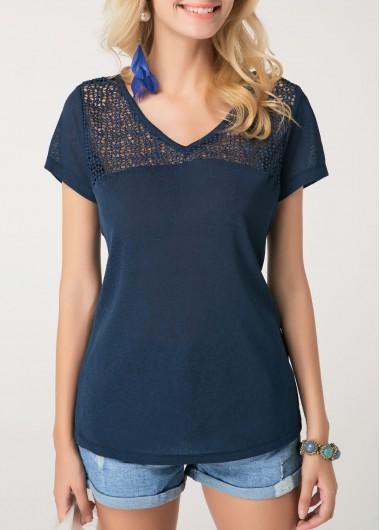 Crochet Detail Short Sleeve Navy Blue T Shirt - L