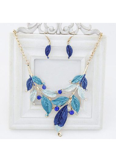 Blue Leaf Shape Chain Necklace and Earrings