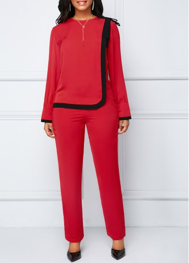 Bowknot Detail Zipper Back Red Top and Pants