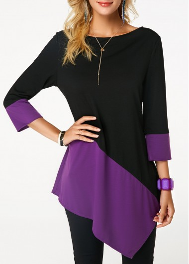 Asymmetric Hem Boat Neck Color Block T Shirt
