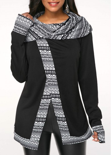 Glove Sleeve Front Slit Printed Black Sweatshirt