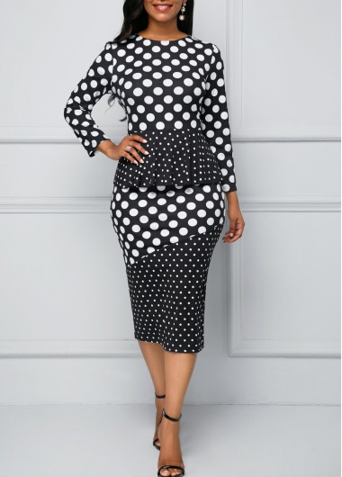 Polka Dot Print Peplum Waist Sheath Dress