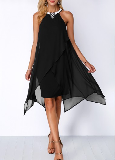 Embellished Neck Chiffon Overlay Black Dress