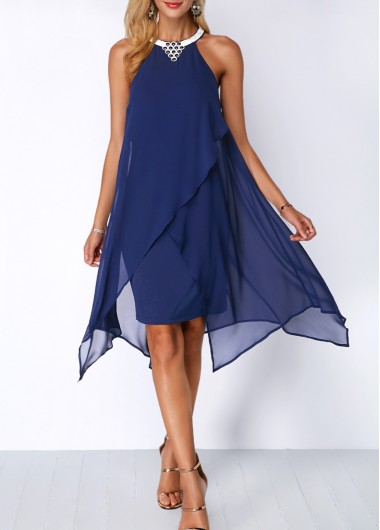 Women Navy Blue Chiffon Cocktail Party Dress Halter Necl Sleeveless Overlay Flowy Embellished Neck Shift Dress By Rosewe - L