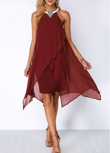 Chiffon Overlay Embellished Neck Wine Red Dress
