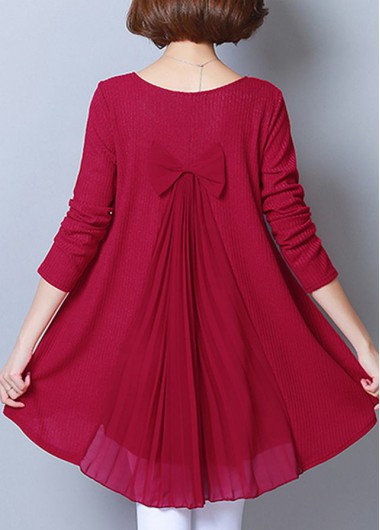 Wine Red Bowknot Detail Long Sleeve Blouse - 10