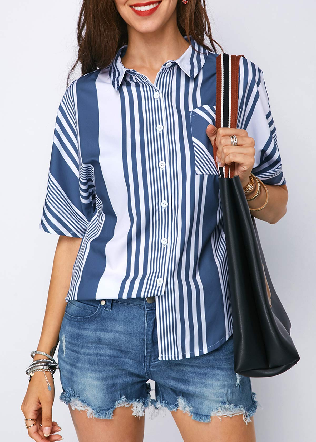 Striped Turndown Collar Button Up Shirt