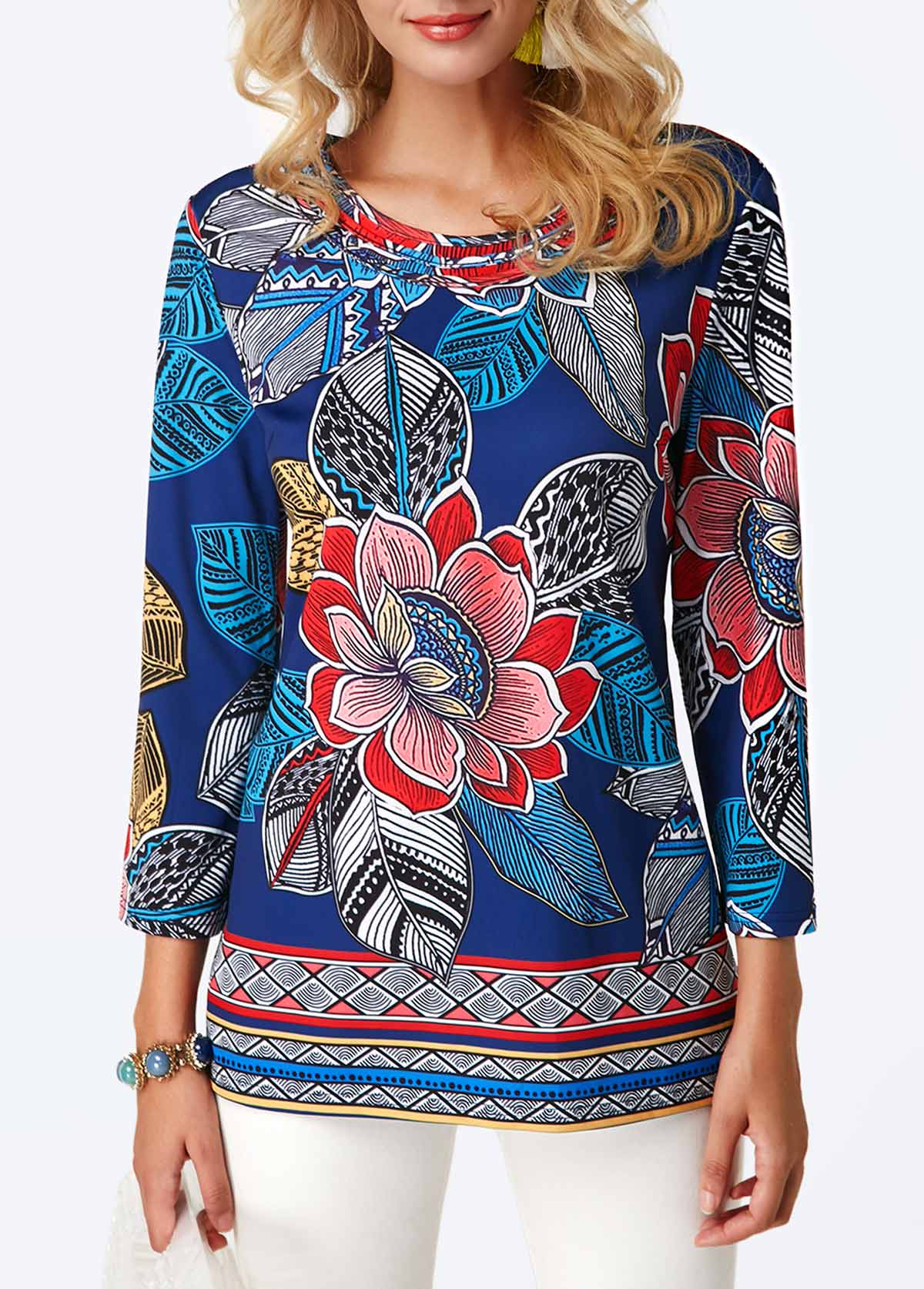 Flower Print Three Quarter Sleeve Blouse